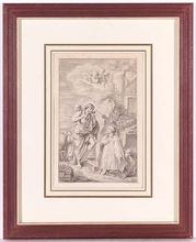 """Charles-Nicolas II COCHIN (Attrib.) - Dessin-Aquarelle - """"Good Shepherd"""" attrib. to Charles-Nicolas Cochin, 18th C."""