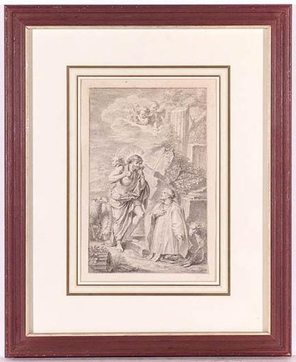 """Disegno Acquarello - """"Good Shepherd"""" attrib. to Charles-Nicolas Cochin, 18th C."""