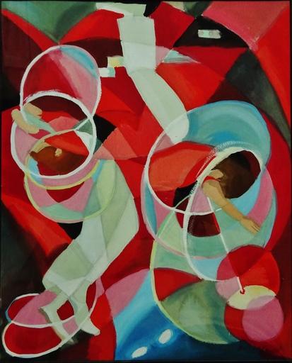 Pierre BERJOLE - Disegno Acquarello - Composition aux jongleurs de cerceaux circa 1977