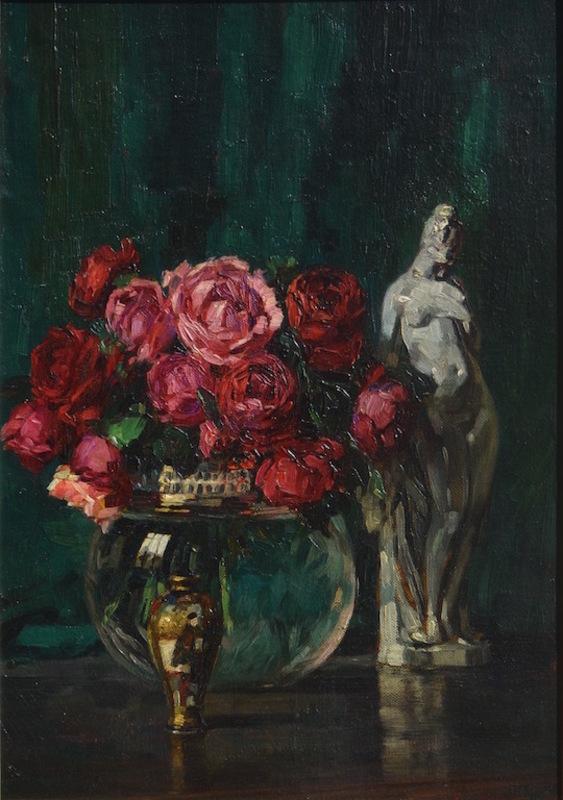 Julian KLEIN VON DIEPOLD - Painting - Still-life with porcelain figurine