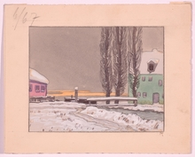 """Max VON POOSCH - Drawing-Watercolor - """"Two Illustrations"""", 1910s"""