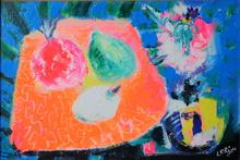 Bernard LORJOU - Pintura - Nature morte aux fruits exotiques