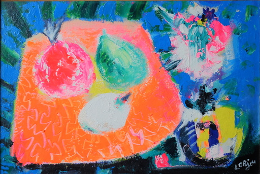 Bernard LORJOU - Gemälde - Nature morte aux fruits exotiques