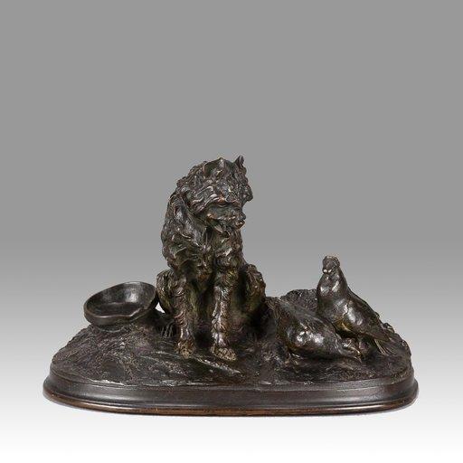 Pierre-Jules MÈNE - Sculpture-Volume - Chien et Pigeon