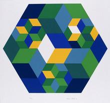 Herbert AULICH - Radierung Multiple - Quadrate im Sechseck