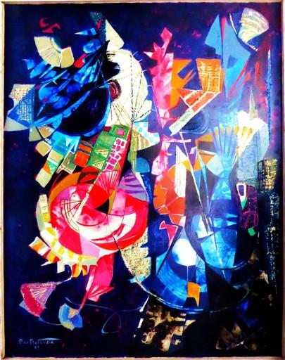 Pierre DE BERROETA - Peinture - COMPOSITION ABSTRAITE ARLEQUIN BLEU