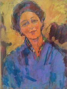 Sigmund LANDAU - Dibujo Acuarela - Portrait of a Woman