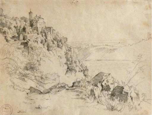 Heinrich Louis Theodor GURLITT - Drawing-Watercolor - Nemisee im Albanergebirge