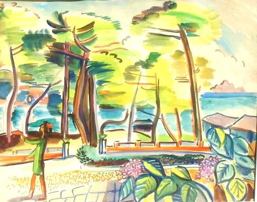 Laszlo BARTA - Zeichnung Aquarell - la promenade