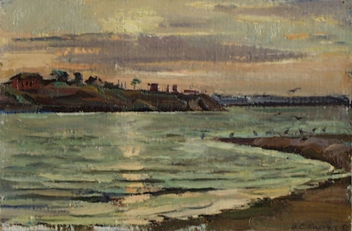 "Vassili KARKOTS - Gemälde - ""River in Evening"" by Vasili Karkots"