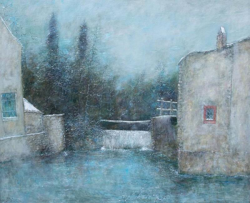 Bernard GANTNER - Painting - Le vannage en hiver