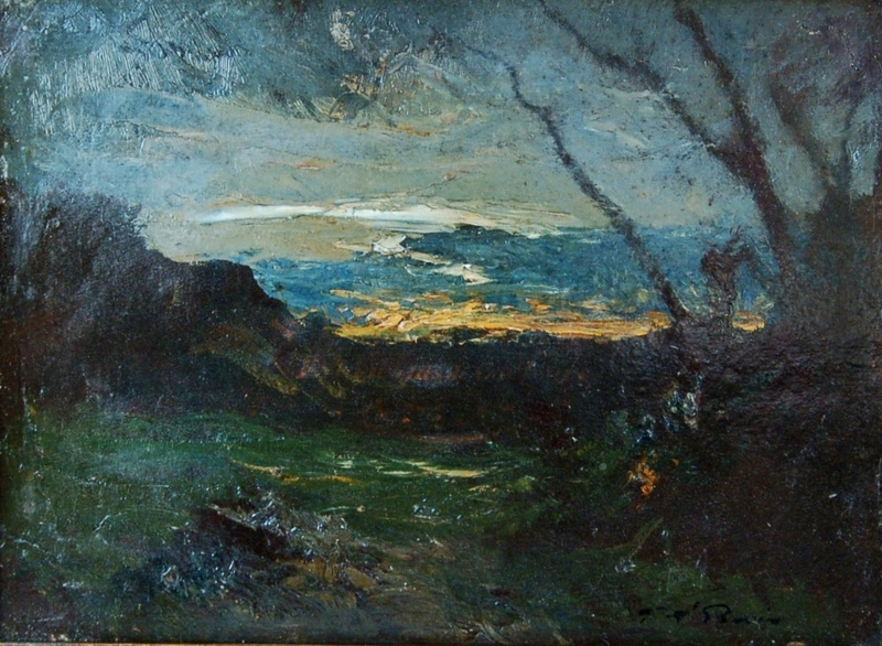 Auguste RAVIER - Painting - paysage nocturne