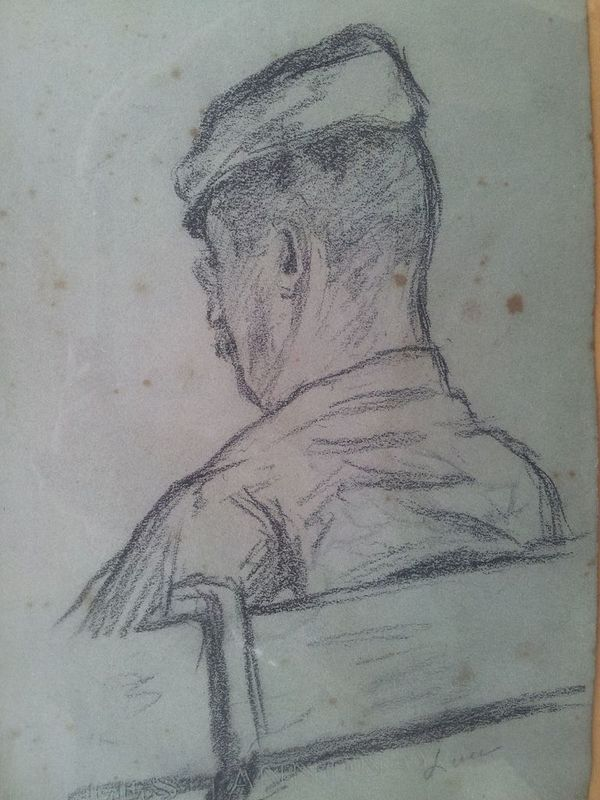 Maximilien LUCE - Dessin-Aquarelle - Man with Beret from Beret