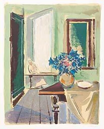 Joseph FLOCH - Grabado - Atelier mit Blumen