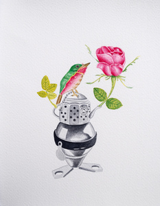 Angelo MAISTO - Drawing-Watercolor - La rosa
