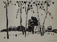 """Viliam CHMEL - Disegno Acquarello - """"Landscape"""" by Viliam Chmel, 1948"""