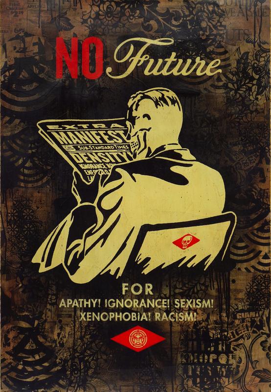 Shepard FAIREY - Zeichnung Aquarell - No Future (Black)