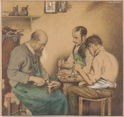 Josef KÖPF - Drawing-Watercolor - Shoemakers, 1905