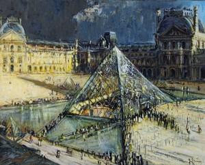 Gilbert PECOUD - Painting - Paris, la pyramide du Louvre