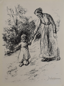 Max LIEBERMANN - Print-Multiple - Governess with Child | Wärterin mit Kind