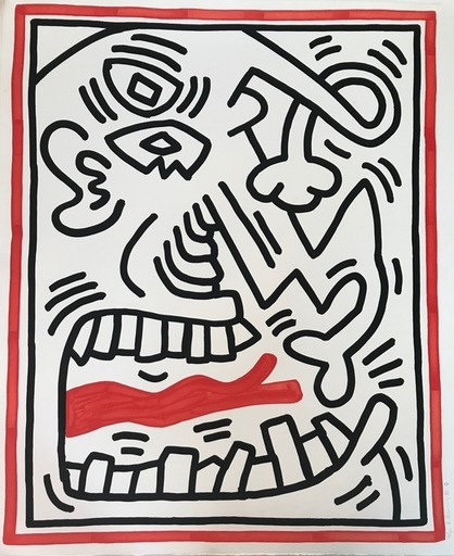 Keith HARING - Print-Multiple - Untitled (red tongue)