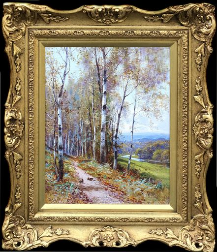 Alfred Augustus I GLENDENING - Painting - A Woodland Path' and 'A Mountain Stream' (Pair)