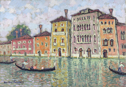 Jac MARTIN-FERRIERES - Peinture - Venise, le grand canal et les gondoles