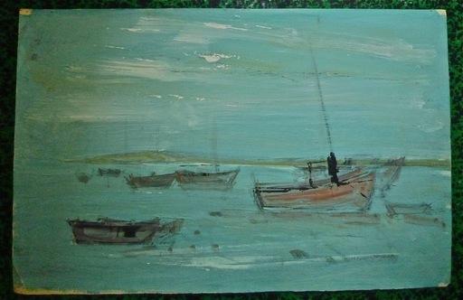 Guy CHABROL - Dibujo Acuarela - Barques de pêche en mer