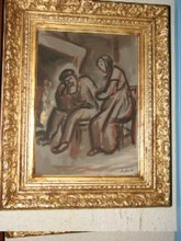 "René SEYSSAUD (1867-1952) - ""COUPLE ÂGÉ DEVANT L'ÂTRE"""