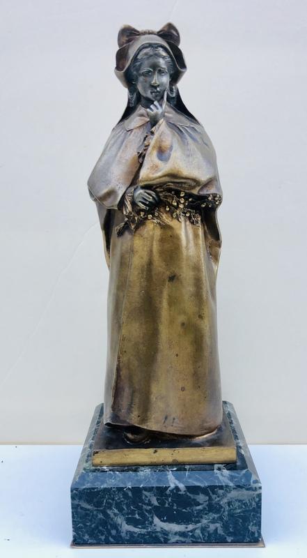 Henri Louis LEVASSEUR - Skulptur Volumen - Femme au bouquet
