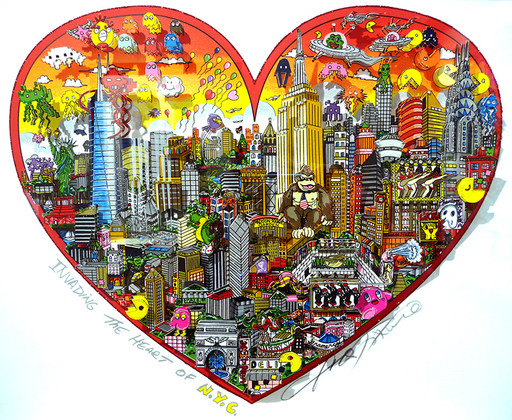 Charles FAZZINO - Grabado - Invading the heart of NYC