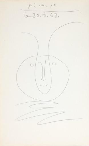 Pablo PICASSO - Zeichnung Aquarell - Tête de faune