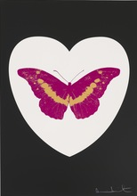 Damien HIRST - Stampa Multiplo - I Love You - White/Black/Fuchsia/Cool Gold
