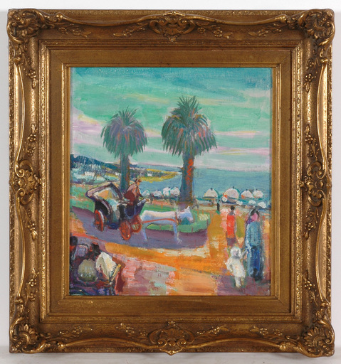 """Frederick SERGER - Painting - """"Nice, French Riviera"""" oil on canvas, 1930s"""