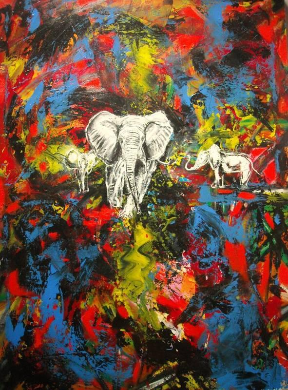 Didier DOIGNON - Pintura - Eléphants