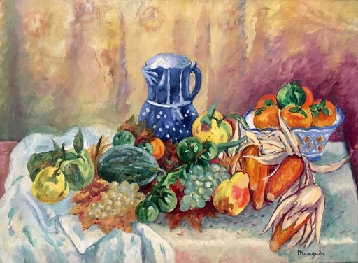 Henri MANGUIN - Painting - Nature Morte, Melon, raubm Poires, Mais et Pot Bleu