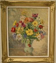 Erich KAATZ - Peinture - Bouquet de fleurs dans un vase.
