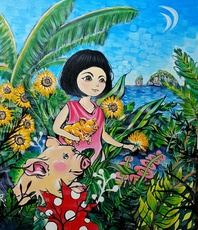 Seung-Hun SHIN - Painting - Fantasy Jejuisland - island girl story