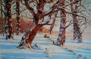 Friedrich WACHENHUSEN - Painting - Winterlandschaft, Waldrand am See