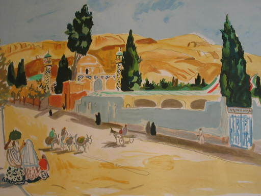 Yves BRAYER - Grabado - Iran:La route de Chiraz,1971.