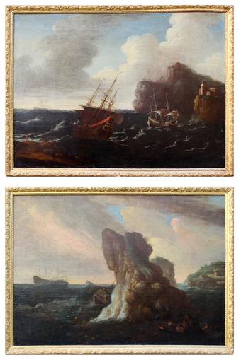 Pascal DE LA ROSE - Painting - Paesaggi costieri con castello e navi in riparazione