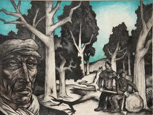 "Raymond DIERICKX - Drawing-Watercolor - ""LES BÛCHERONS"""