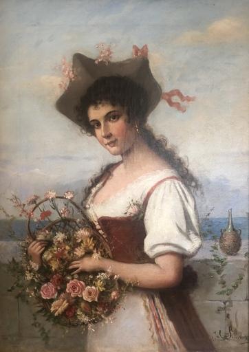 Julius SIMMONDS - Pittura - Junge Frau mit Blumen
