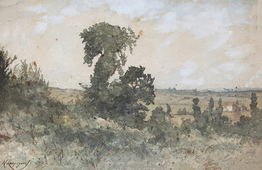 Henri Joseph HARPIGNIES - Zeichnung Aquarell - Paysage