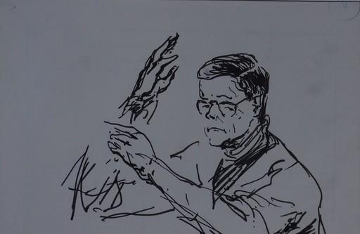 Claude RÉMUSAT - Drawing-Watercolor - Marius CONSTANT signature autographe