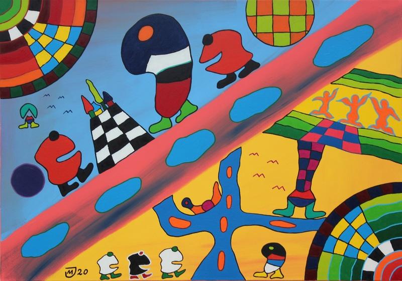 Michael JANSEN - Painting - An welcher Uferseite lebt es sich besser?