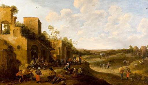 Joost Cornelisz DROOCHSLOOT - Painting - Paysage animé de personnages