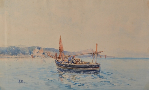 Alphonse REY - Drawing-Watercolor - Bateau à Menton