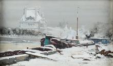 Eugène GALIEN-LALOUE - Drawing-Watercolor - Paris, the Seine and Pavilion de Flore Under Snow