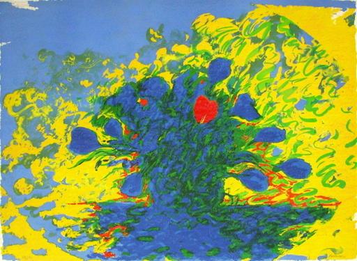 Frédéric BRANDON - Grabado - Bouquet jaune et bouquet bleu
